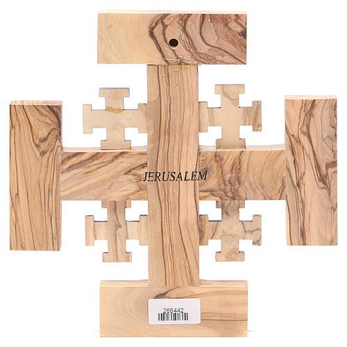 Croce Gerusalemme legno ulivo e terra Palestina 19 cm 2