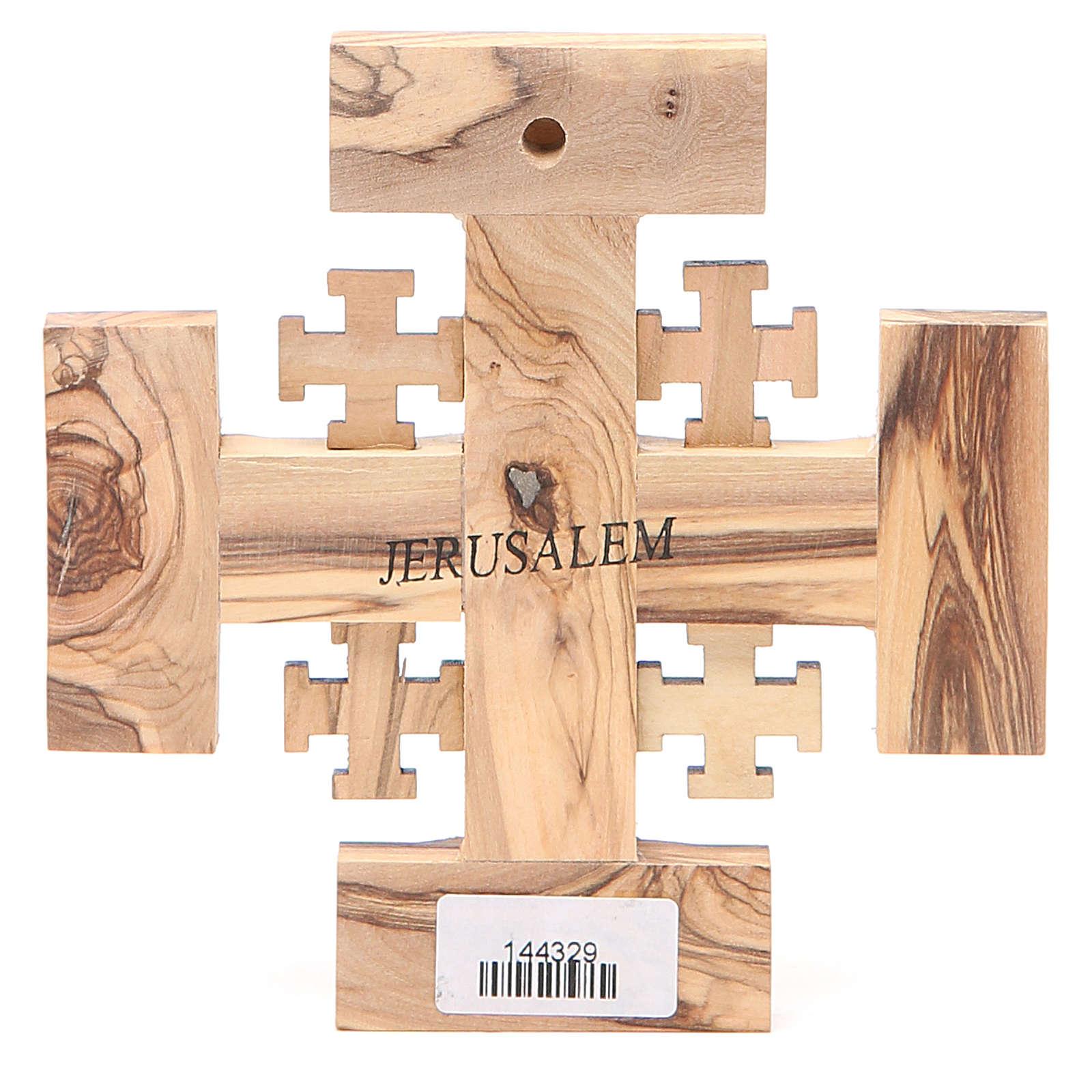Croce Gerusalemme legno ulivo e terra della Palestina 12,5 cm 4