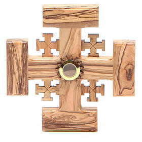Croce Gerusalemme legno ulivo e terra della Palestina 12,5 cm s1