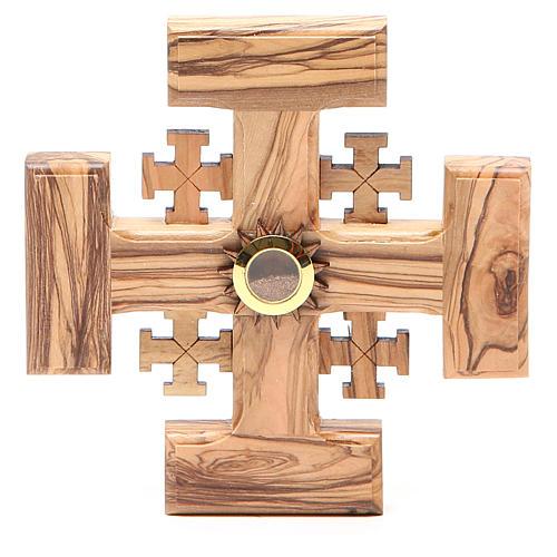 Croce Gerusalemme legno ulivo e terra della Palestina 12,5 cm 1