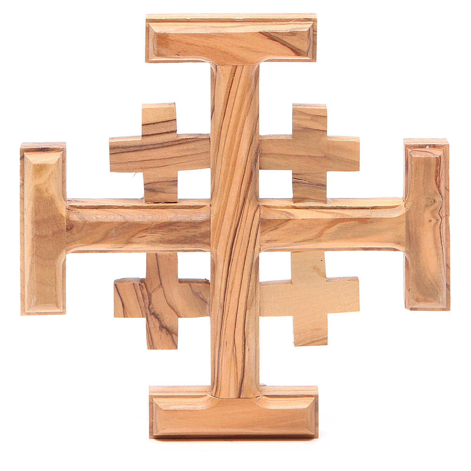 Croce Jerusalem legno ulivo Terrasanta 15 cm 4