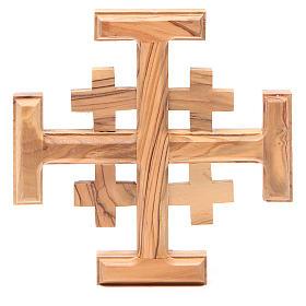 Croce Jerusalem legno ulivo Terrasanta 15 cm s1