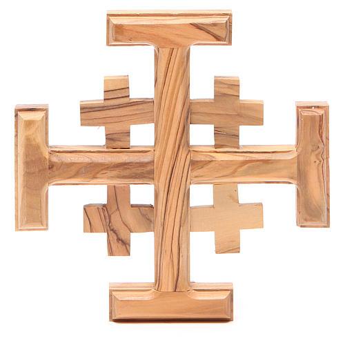 Croce Jerusalem legno ulivo Terrasanta 15 cm 1