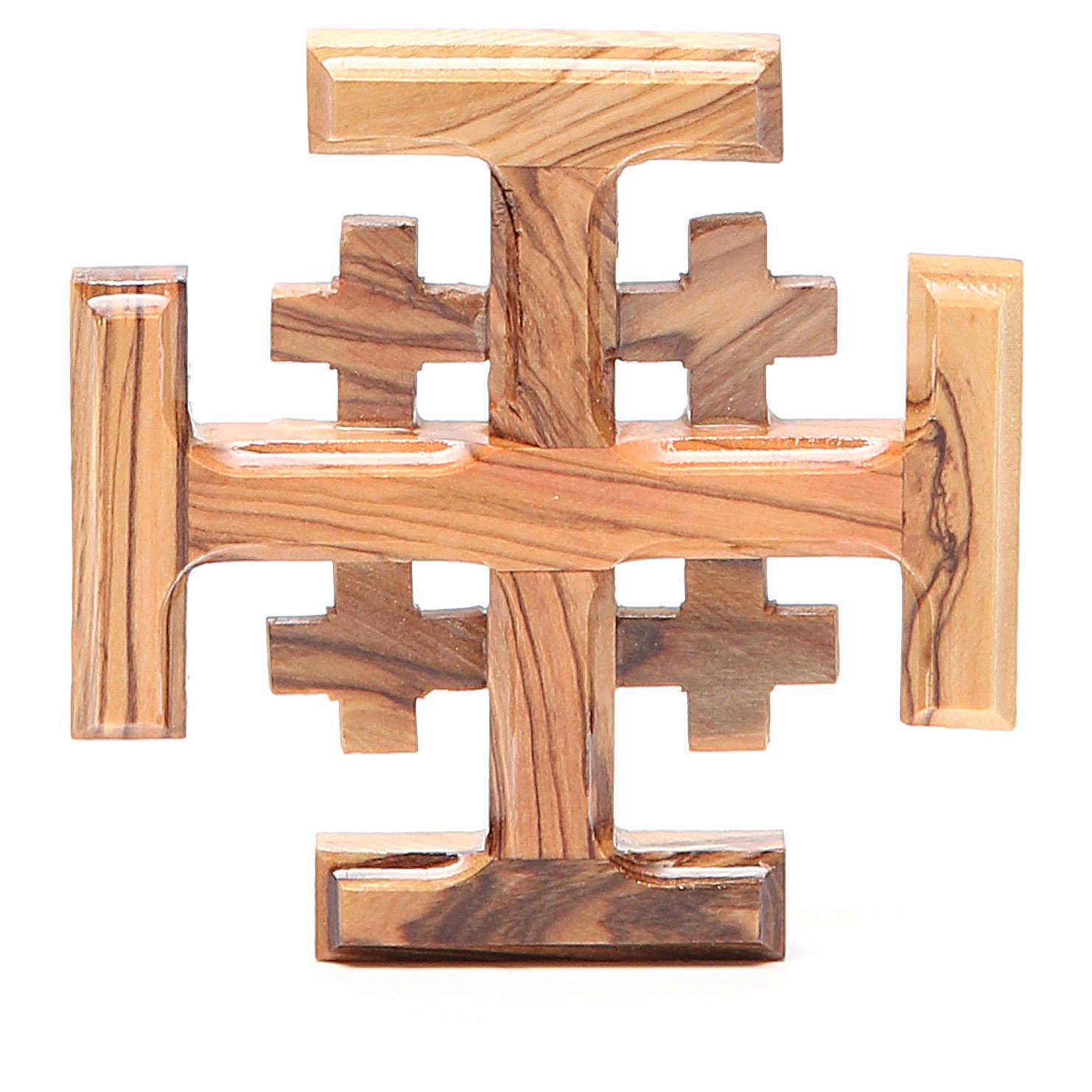 Croce Jerusalem legno d'olivo della Terrasanta 8 cm 4