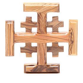Croce Jerusalem legno d'olivo della Terrasanta 8 cm s1
