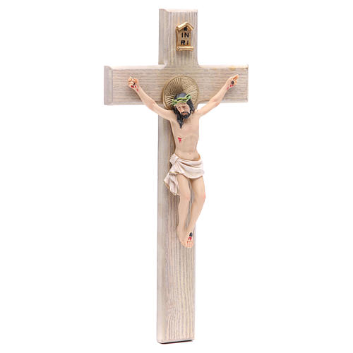 Crocefisso 30 cm resina e croce legno 3
