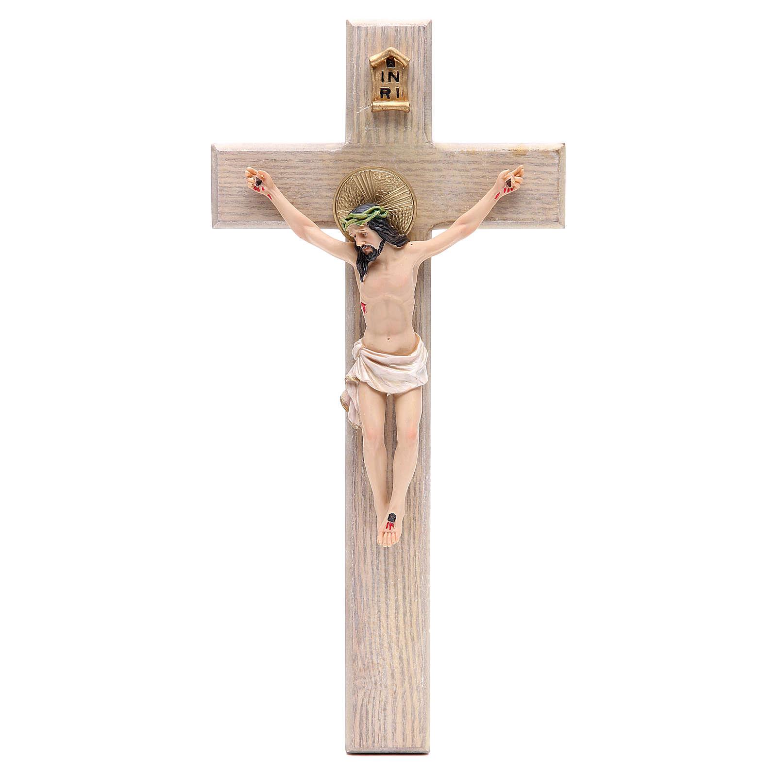 Crucifixo 30 cm resina e cruz madeira 4