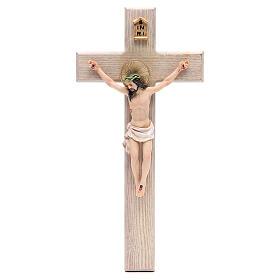 Crucifixo 30 cm resina e cruz madeira s1