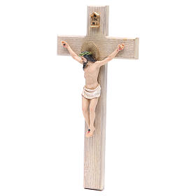 Crucifixo 30 cm resina e cruz madeira s2