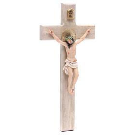 Crucifixo 30 cm resina e cruz madeira s3