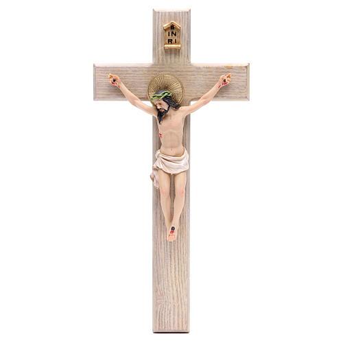 Crucifixo 30 cm resina e cruz madeira 1