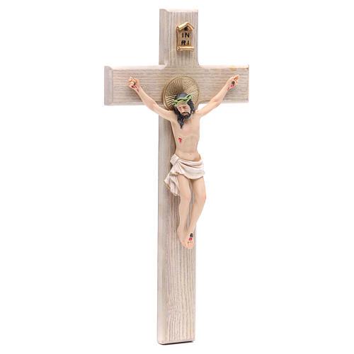 Crucifixo 30 cm resina e cruz madeira 3