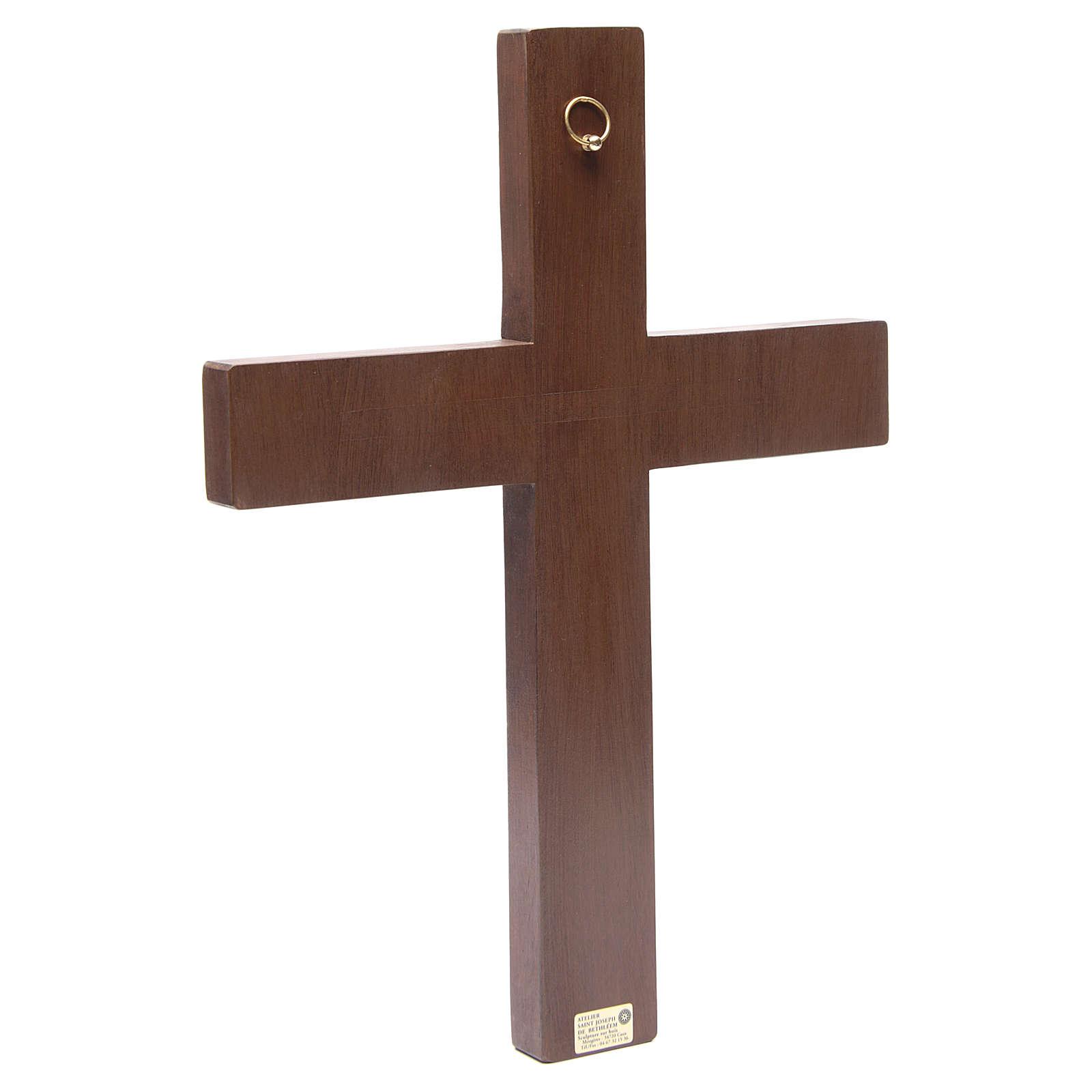 Crocifisso in croce legno rilievo dipinto 45 cm 4