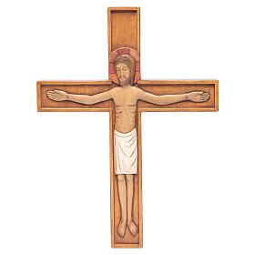 Crocifisso in croce legno rilievo dipinto 45 cm s1