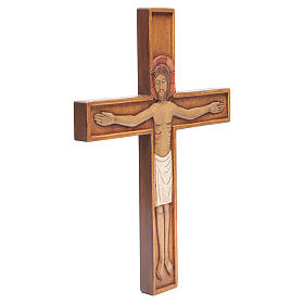 Crocifisso in croce legno rilievo dipinto 45 cm s4