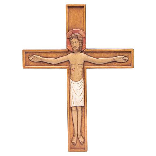 Crocifisso in croce legno rilievo dipinto 45 cm 1