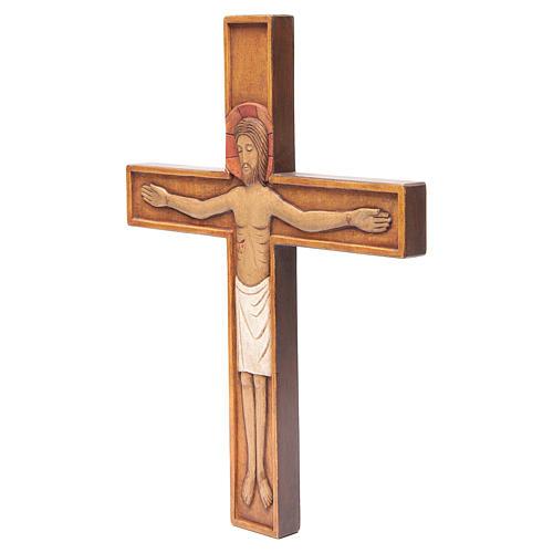 Crocifisso in croce legno rilievo dipinto 45 cm 2