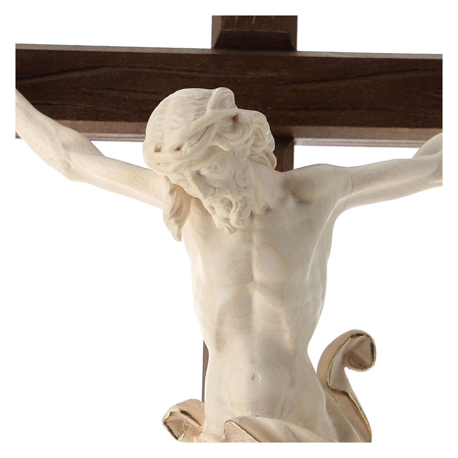 Crucifix in wood Val Garden and Christ's body in wax and golden thread 4