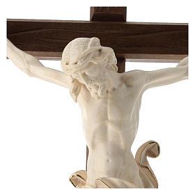 Crucifix bois Val Gardena et Corps de Christ cire fil d'or s2