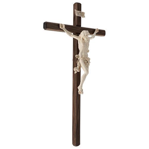 Crucifix bois Val Gardena et Corps de Christ cire fil d'or 4