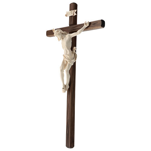 Crucifixo madeira Val Gardena e Corpo de Cristo cera fio de ouro 3