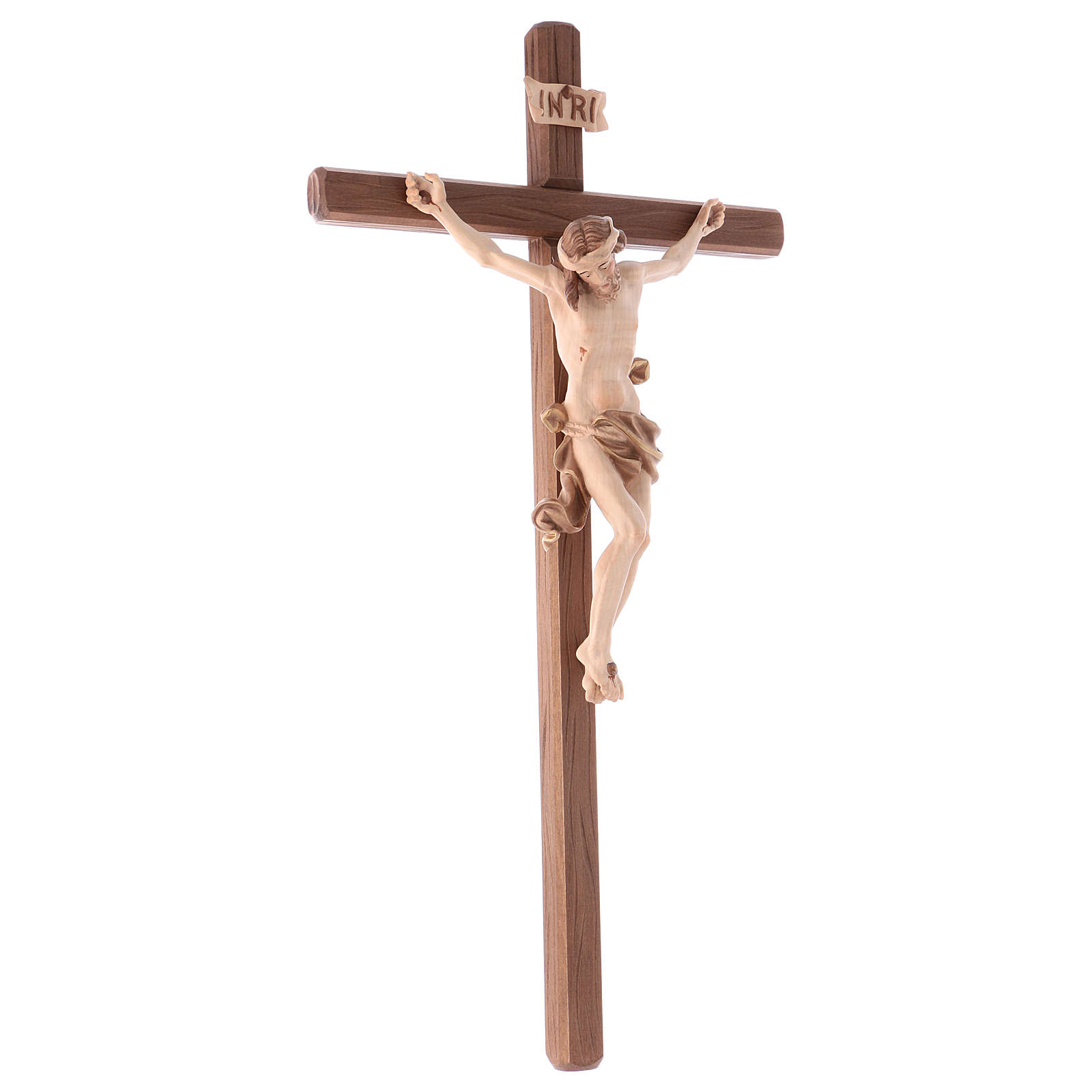 Crucifix in wood burnished three colours Val Gardena 4