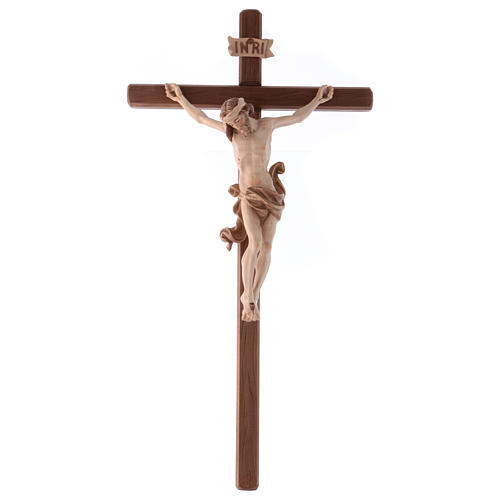 Crucifix in wood burnished three colours Val Gardena 1