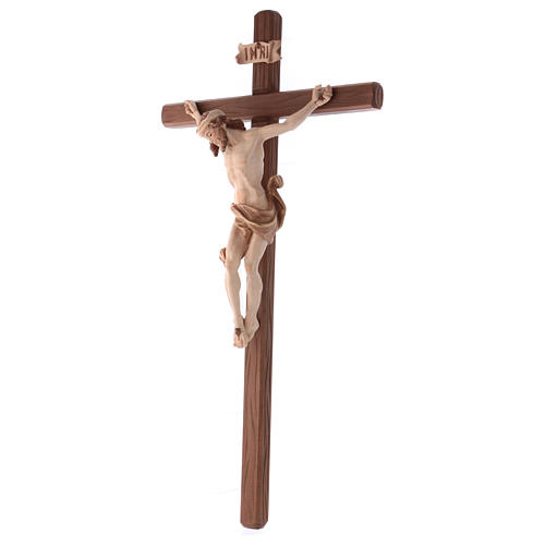 Crucifix in wood burnished three colours Val Gardena 3