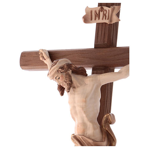 Crucifix Christ bruni 3 tons bois Val Gardena 2
