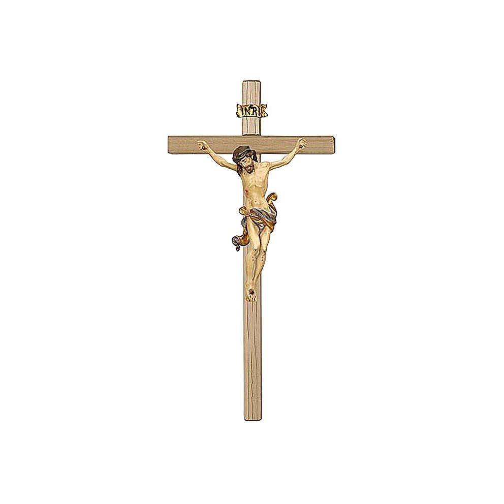 Crocefisso Cristo oro zecchino antico in legno Val Gardena 4