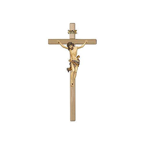 Crocefisso Cristo oro zecchino antico in legno Val Gardena 1