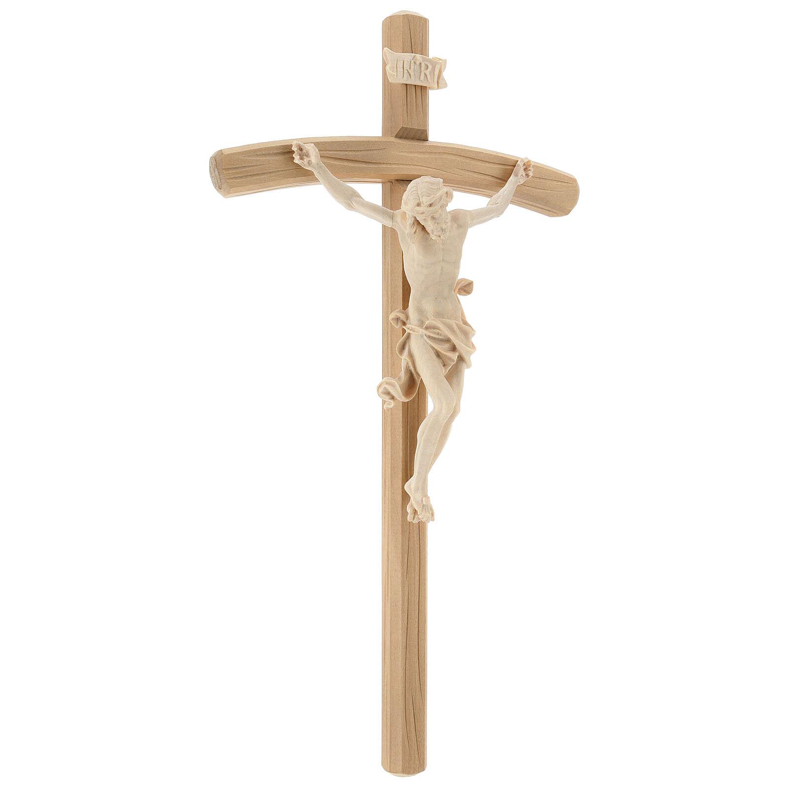 Kruzifix Mod. Leonardo kurven Kreuz Grödnertal Naturholz 4