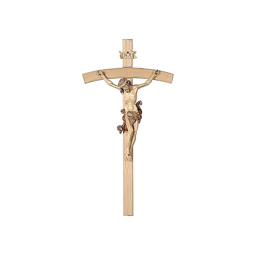 Crocefisso croce curva brunito tre colori Leonardo 4