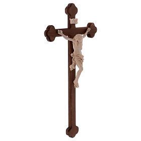 Cristo Leonardo natural y cruz bruñida barroca s4