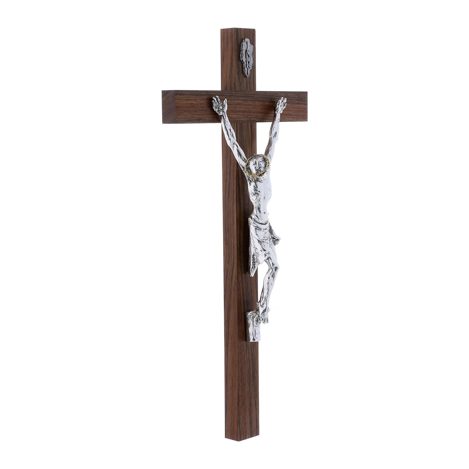 Crocifisso moderno corpo argento su crocifisso in legno di noce 47 cm 4