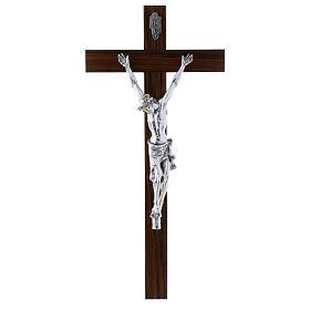 Crocifisso moderno corpo argento su crocifisso in legno di noce 47 cm s1