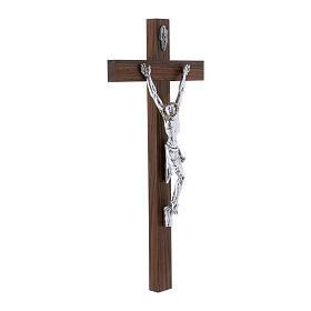 Crocifisso moderno corpo argento su crocifisso in legno di noce 47 cm s2