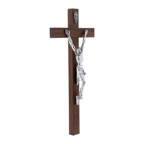 Crocifisso moderno corpo argento su crocifisso in legno di noce 47 cm 2