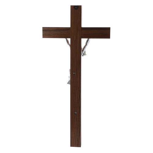 Crocifisso moderno corpo argento su crocifisso in legno di noce 47 cm 3