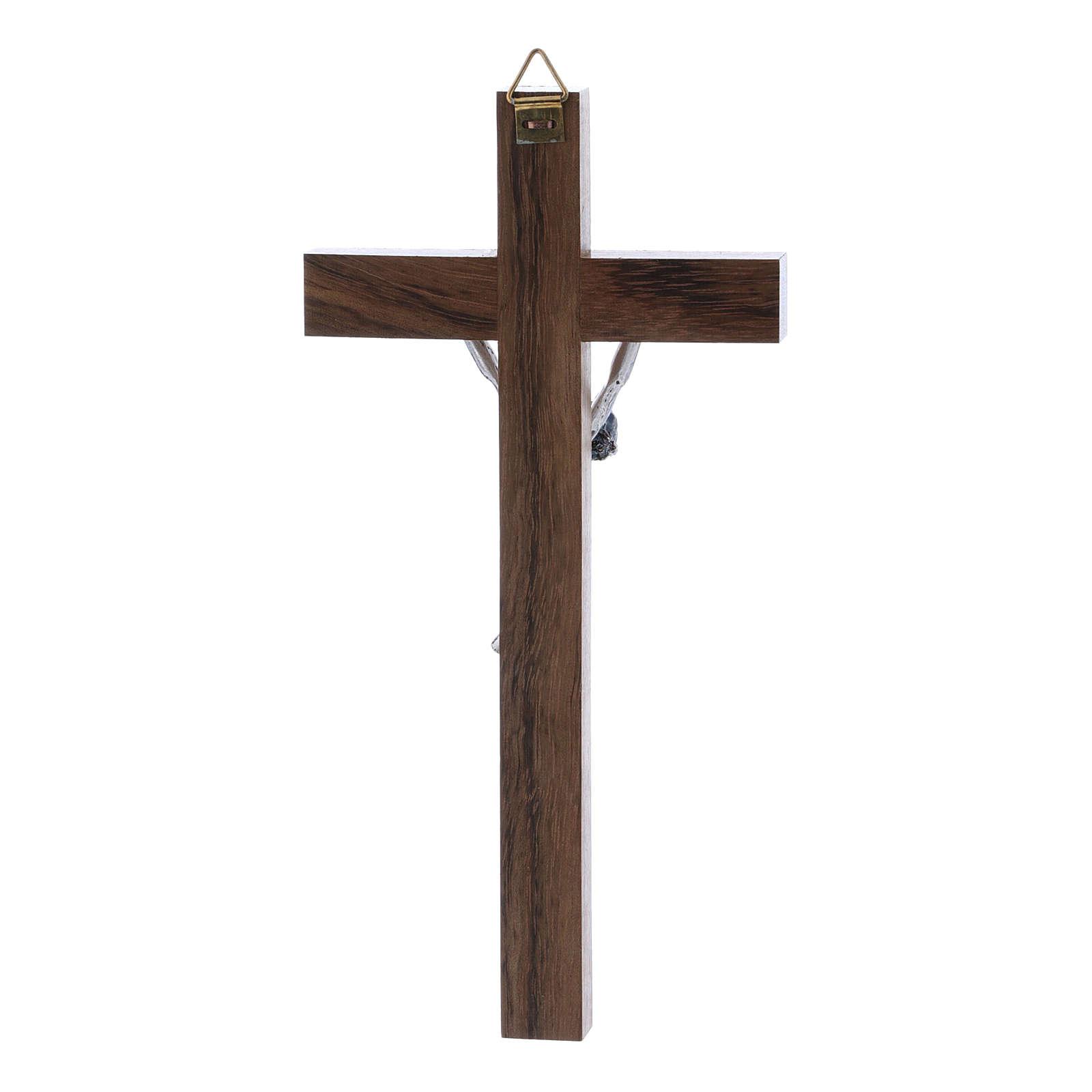 Crocifisso corpo argentato su croce in legno di noce moderno 16 cm 4