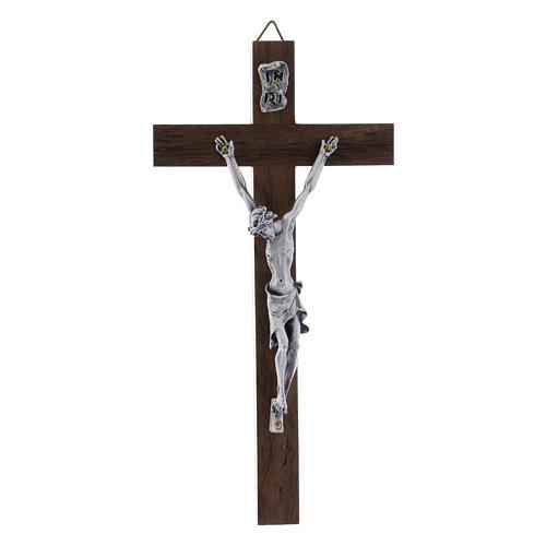 Crocifisso corpo argentato su croce in legno di noce moderno 16 cm 1