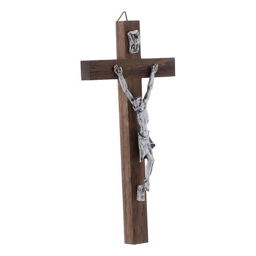 Crocifisso corpo argentato su croce in legno di noce moderno 16 cm 2
