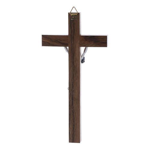Crocifisso corpo argentato su croce in legno di noce moderno 16 cm 3