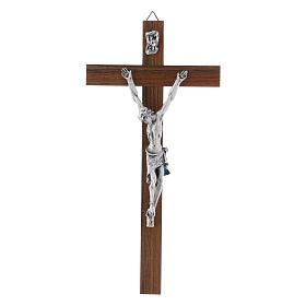 Crocifisso moderno in legno di noce corpo metallo 21 cm s1