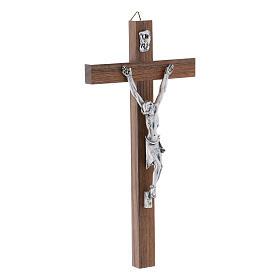 Crocifisso moderno in legno di noce corpo metallo 21 cm s2