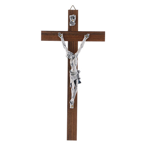 Crocifisso moderno in legno di noce corpo metallo 21 cm 1