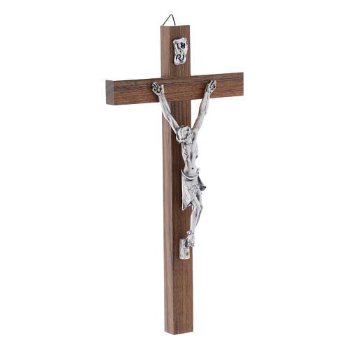 Crocifisso moderno in legno di noce corpo metallo 21 cm 2