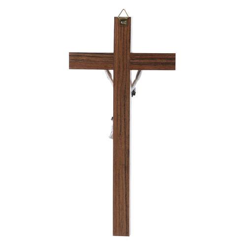Crocifisso moderno in legno di noce corpo metallo 21 cm 3