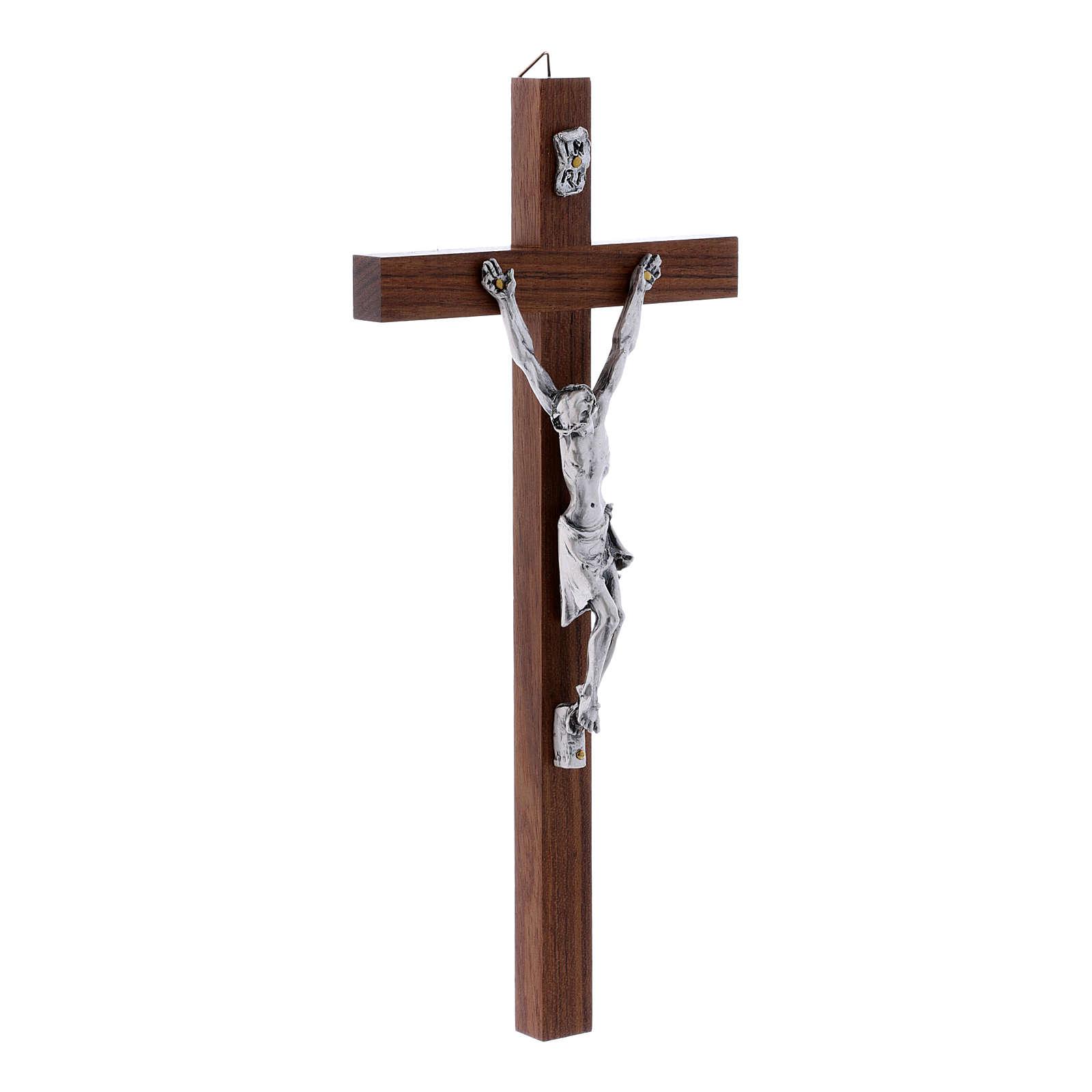 Crocifisso moderno in legno di noce e corpo in argento 25 cm 4