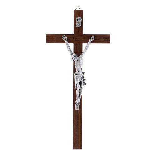 Crocifisso moderno in legno di noce e corpo in argento 25 cm 1